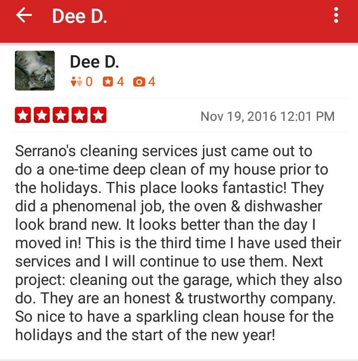 Serrano's C;eaning services Exelents Reviews Serving Stockton and Surrounding Areas